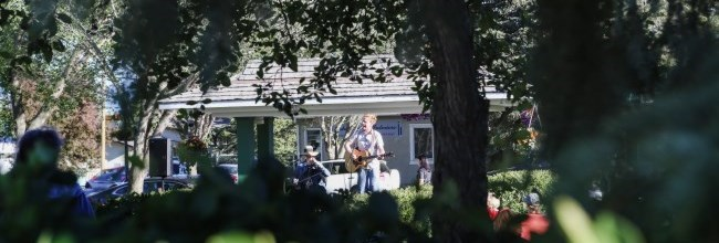 man singing in park